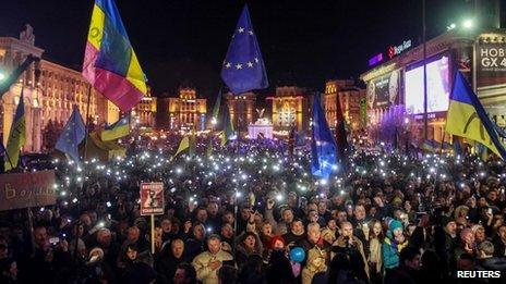 Opposition supporters protest in Kiev's Independence Square (29 November 2013)