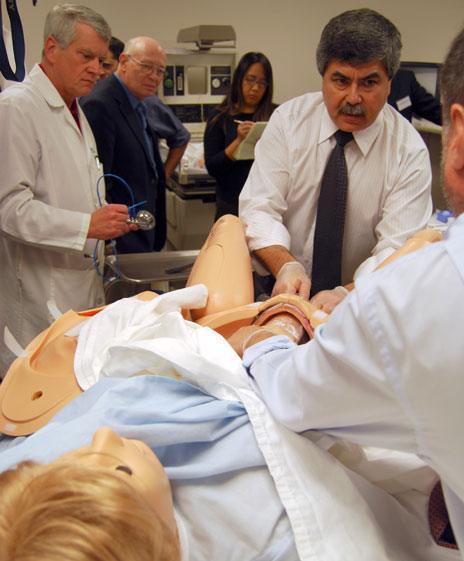 Odon demonstrates his device on a state-of-the-art mannequin
