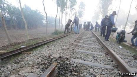 Damaged railway line in the Bangladeshi district of Bogra