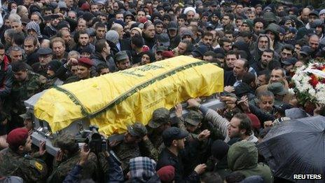 Funeral procession of Hassan Lakkis in Baalbek (4 December)