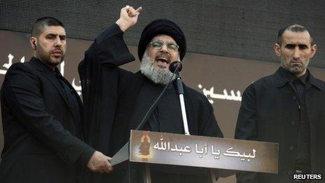 Hassan Nasrallah addresses a rally in Beirut (14 November 2013)