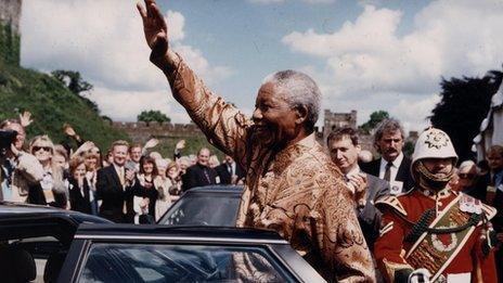 Nelson Mandela in Cardiff in 1998