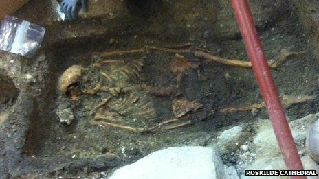 Skeleton found in the grounds of Roskilde Cathedral