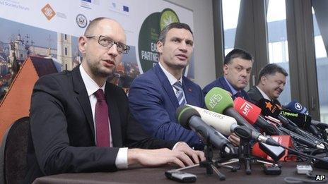Petro Poroshenko (far right) with Ukraine's three main political opposition leaders. Photo: 30 November 2013