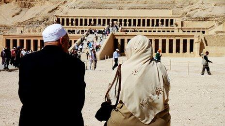 Tourists at the Temple of Hatshepsut, Egypt