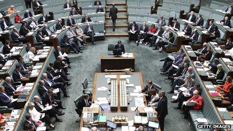 File photo: Australia's House of Representatives question time at Parliament House on 7 February 2013