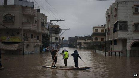 Palestinian rescue workers evacuate residents using a fishing boat following heavy rains in Gaza City (14 Dec. 2013)
