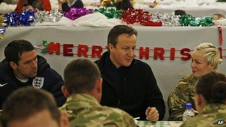 David Cameron and former England footballer Michael Owen at Camp Bastion
