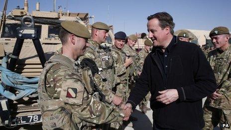 David Cameron with British troops