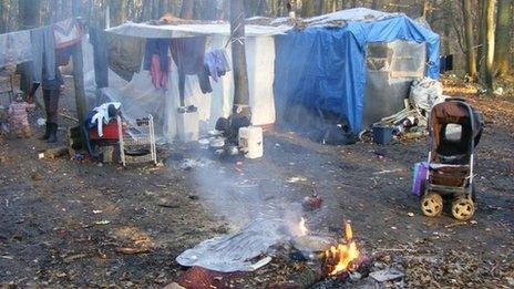 Illegal Roma camp in Champs-sur-Marne