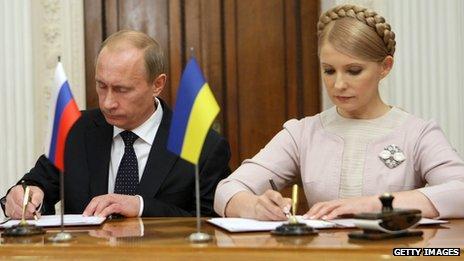 Russia's leader Vladimir Putin and Ukrainian former leader Yulia Tymoshenko
