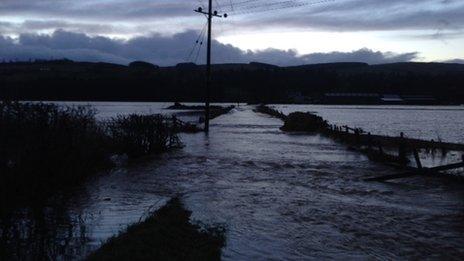 Flooded road near Closeburn