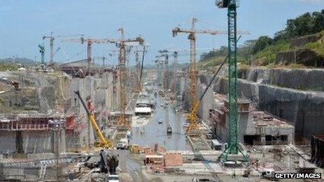A view of Panama canal construction work on August 20, 2013.