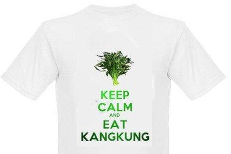 """A T-shirt with the words """"Keep calm and eat kangkung"""" and an image of the vegetable"""