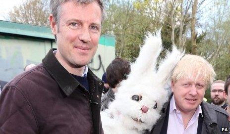 Zac Goldsmith,left, with a fluffy rabbit and London mayor Boris Johnson