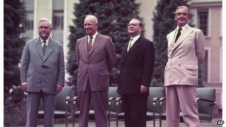 Russian Premier Nikolai Bulganin, US President Dwight D. Eisenhower, French Premier Edgar Faure and British Prime Minister Sir Anthony Eden, at the 'Big Four' Geneva Summit in 1955.