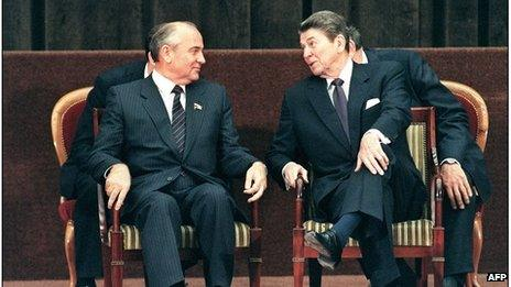 US President Ronald Reagan chats to Soviet President Mikhail Gorbachev during a two-day summit in Geneva in 1985.