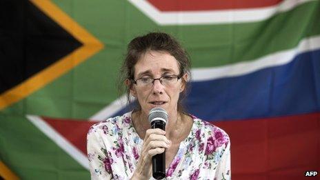 Yolande Korkie holds a press conference in Johannesburg on 16 January 2014