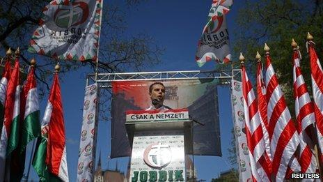 Jobbik party leader Gabor Vona speaks at a party rally