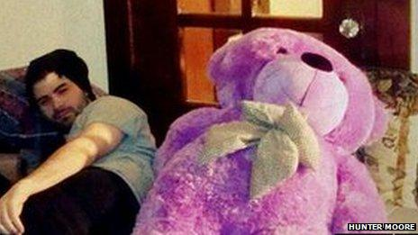 Hunter Moore with a teddy bear