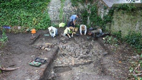 Stone structure under excavation