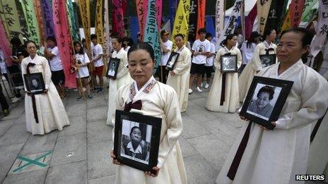 """Protest in Seoul against Japan's use of """"comfort women"""" in World War Two (file photo - Aug 2013)"""