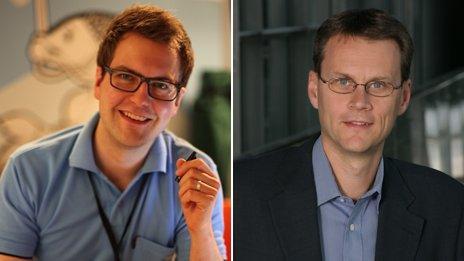 Two separate photos: One of Kimmo Koivisto; The other of Nokia's Matti Vanska