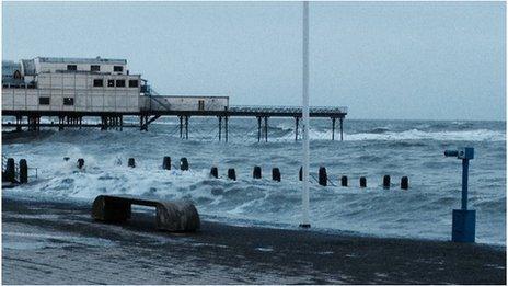 Stormy seas in Aberystwyth early on Saturday morning