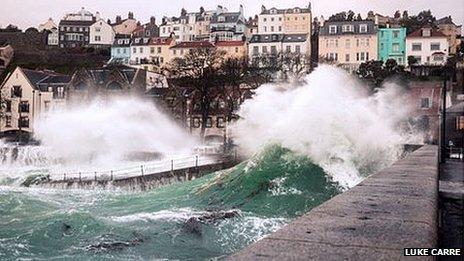 Waves crash against east coast