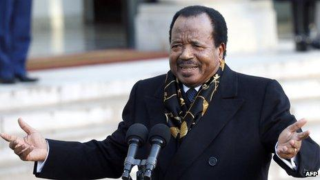 Cameroon President Paul Biya speaks to journalists following a meeting with his French counterpart at the Elysee Palace on 30 January 2013 in Paris.