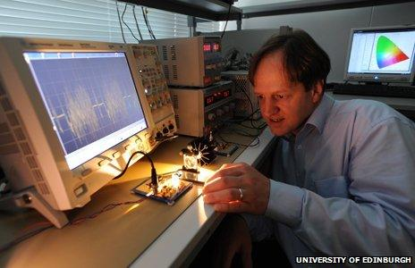 Professor Harald Hass with his LiFi technology