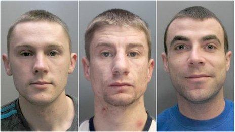 (De-i-chwith) Andrew Lee Hughes, Leon Pritchard a Paul Taylor