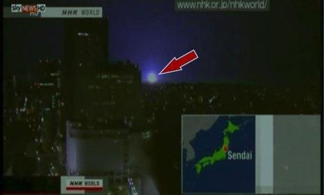Glowing orbs over Fukushima