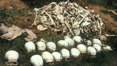 skulls and bones of those killed during Khmer Rouge rule