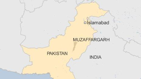 BBC map locating Muzaffargarh in Pakistan
