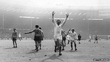 Jeff Astle celebrating a goal
