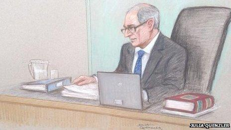 Court sketch of Lord Justice Goldring