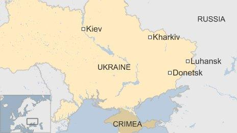 BBC map of cities in eastern Ukraine