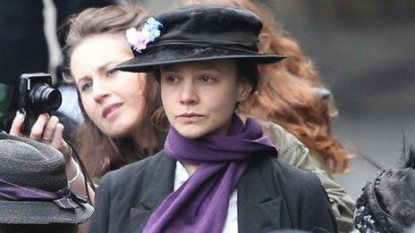 Carey Mulligan was also on set dressed as a suffragette.
