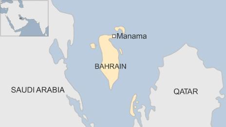 Map of Bahrain showing the capital, Manama