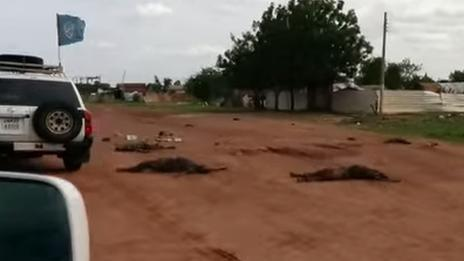 Grab from UN video footage of bodies found in Bantiu