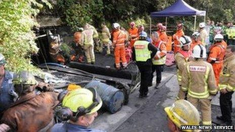 Rescuers at the mine