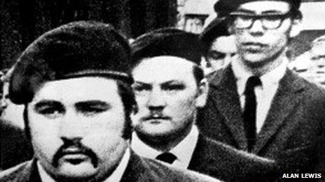 Gerry Adams, (right of picture), at the funeral of a Provisional IRA commander in Belfast in 1971