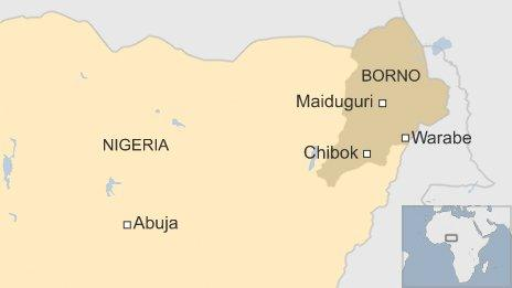 Map showing Warabe