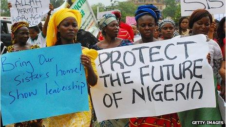 Women protest to bring back Nigerian schoolgirls