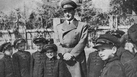 Croatian World War Two ruler Ante Pavelic visiting a school circa 1943