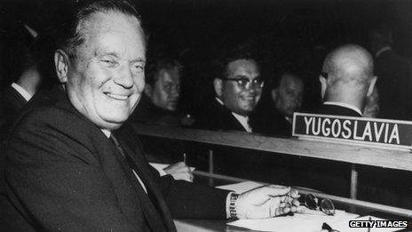 Yugoslav leader Josip Broz Tito at the UN General Assembly in New York on 22 September 1960