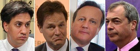 From left: Ed Miliband, Nick Clegg, David Cameron and Nigel Farage