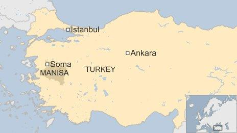 Map of Soma in Turkey