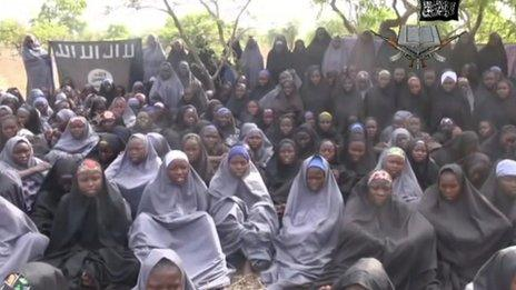 Screengrab from the Boko Haram video of the abducted schoolgirls